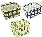 HOGAR AMO 3er Set Speicher Korb Wasserdicht Plaid Leinwand Faltbar Stoffbox für Haus, Büro, Küche, Schrank, Spielzeug, Wäsche, Schublade 20*16*12CM