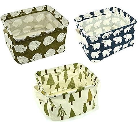 Lot de 3 Boîte de Rangement Personnalité Sur la Table Bureau Rangé Pliage Stockage Pour (Basket Archiviazione)