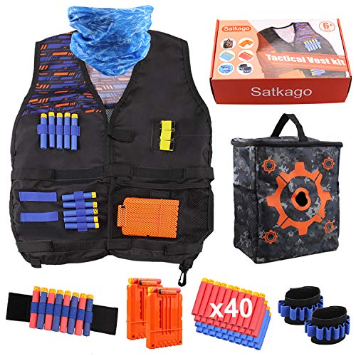 Satkago Gilet Tattico per Nerf N-Strike Serie Elite, Tactical Vest Kit Includere Borsa Portaoggetti, 40Pcs Schiuma Dardi, 2Pcs Caricatore a Ricarica Rapida, 1Pcs Mascherina, 2Pcs Cinturino da Polso