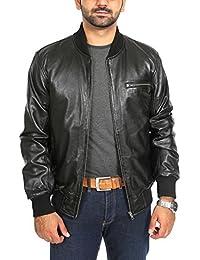 060e72b5c75 Mens Fitted Black Leather Bomber Jacket Classic Blouson Sports Varsity  Baseball Coat ROB