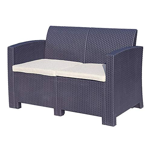 TRUESHOPPING Marbella 2 Seater Rattan Sofa Outdoor Garden Furniture in Graphite with Cream Cushions