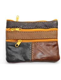 MENS LADIES SOFT LEATHER COIN POUCH PURSE WALLET 1937 (Brown Multi)
