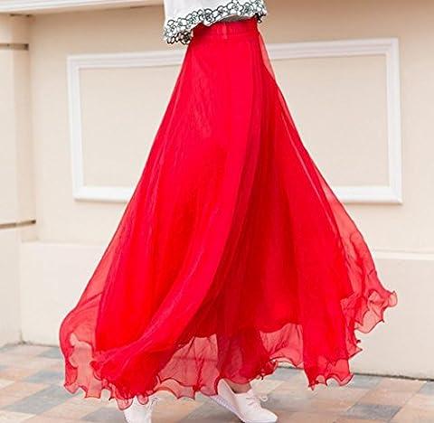 Frauen Long Skirt Summer Casual Fashion Hohe Größe Reinigungstuch Plissee Röcke Beach Sexy Tüll Black Maxi Rock Boho L (Kostüm De Crabe)