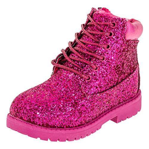 Fashionteam24 Gefütterte warme Classic Boots für Mädchen mit Glitzer in vielen Farben M467pi Pink 31 EU
