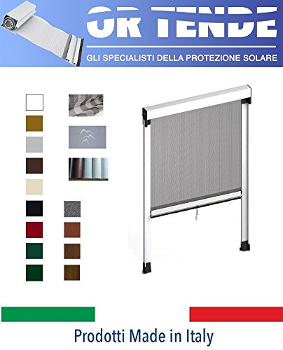 OR TENDE - Zanzariera Verticale in Alluminio a Molla con Bottoncini antivento per Finestre, PRODUZIONE SU MISURA, non Kit Cinesi di pessima QUALITA'.