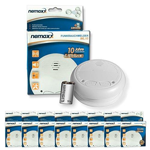 8x Nemaxx WL10 Funkrauchmelder - mit 10 Jahre Lithium Batterie Rauchmelder Feuermelder Set Funk...