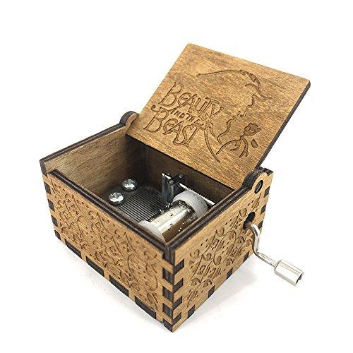 Hölzerne Handkurbel-Schönheit und die Tier-Thema-Spieluhr, 18 Anmerkung-Mechanismus-Antike schnitzte Spieluhr-bestes Geschenk für Kinder, Freunde (4-tier-box)