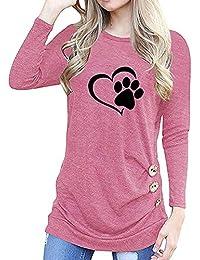 Camisas Mujer Tallas Grande,EUZeo Primavera Otoño Blusa de Las Mujeres,Básica Camiseta de Manga Larga Elegantes Blusa de Verano Oficina de Tops Camiseta Casual T-Shirt Primavera Otoño