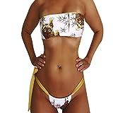 Da donna da donna Tiger stampato cinghia sexy bikini set, Mamum donne sexy bikini set Tankini set Tiger stampa brasiliano costumi da bagno a due pezzi Fashion s White