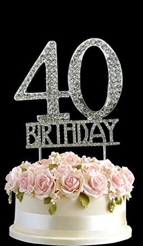 Kristall monogran Happy 40th Birthday Cake Topper Strass mit Silber Bling Kuchen Dekoration Party Happy Birthday 40 (Dekorationen Bday 40)