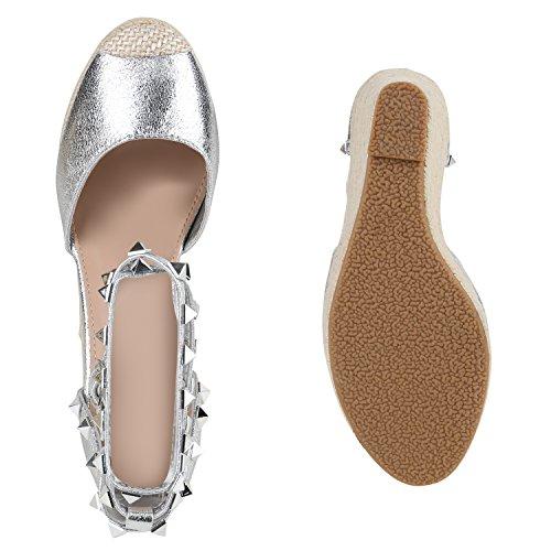 Damen Sommer Pumps Keilabsatz Wedges Sandaletten Bast Nieten Silber