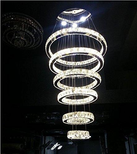 Gowe modernes Großer Kristall Kreis 6Ringe Kronleuchter Schriftrollen Hängelampe, Beleuchtung Bestandteil -