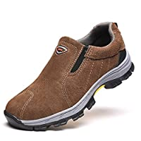 ETH Men's Shoes Women's Shoes Breathable Safety Work Shoes Protective Shoes Steel Toe Steel Midsole Anti-smashing Anti-slip Wear-resistant Warm Shoes Sneakers Brown Beautiful