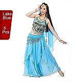 Costume professionnel de danse du ventre indienne de 5 pièces de BellyQueen  Taille unique bleu lac