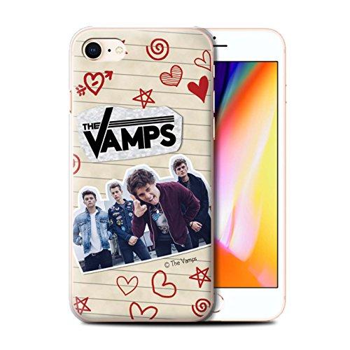 Officiel The Vamps Coque / Etui pour Apple iPhone 8 / Stylo Noir Design / The Vamps Livre Doodle Collection Stylo Rouge