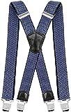 Decalen Hosenträger für Herren Breit 4 cm mit sehr Starken 4 Metall Clip Lang Einheitsgröße für Männer und Damen Einstellbar und Elastisch X Style (Hellblau)