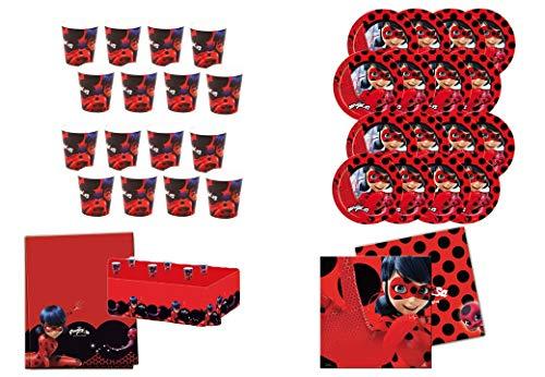 Einweg-Pack Party und Geburtstag Lady Bug, 16 Gläser, 16 Teller 23 cm, 20 Servietten und 1 Tischdecke 120x180 cm ()