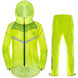 Chaqueta de Ciclismo Unisex Impermeable con Capucha y Pantalones Correas Reflectantes Chaqueta de Lluvia para Deportes al Aire Libre(4XL-Verde Fluorescente) …