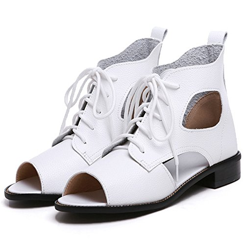 COOLCEPT Damen Casual Sommer Stiefel Cut Out Schnurung Flach Niedrig Absatz White