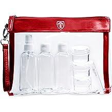 TRAVANDO ® Neceser transparente, 7 envases impermeables (max.100ml) | 1l de capacidad | bolsa de cosméticos, equipaje de mano | transporte de líquidos en el avión, botella set de viaje | hombre, mujer