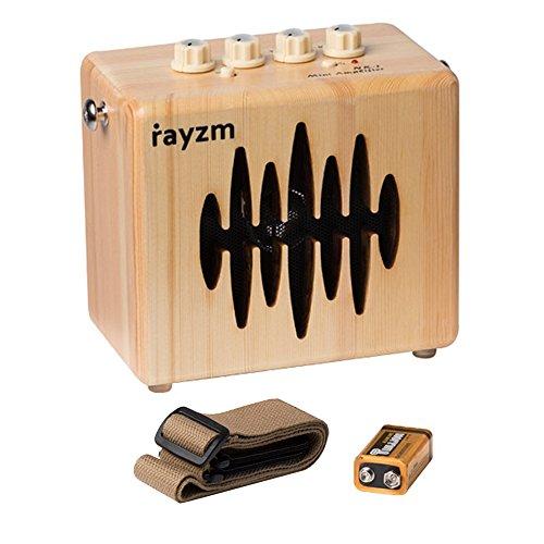 Rayzm E-Gitarren-Combo-Verstärker, 5 Watt Mini Übungsverstärker für Gitarre mit Gurt, Netzteil / AUX- In/ Kopfhörerbuchsen, 4 Zoll Lautsprecher, Batterie Inklusive