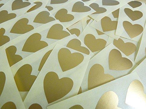 60 étiquettes cœur 28 x 28 mm Doré mat autocollants Motif cœurs