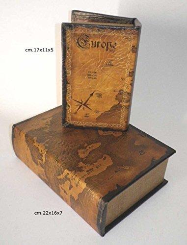 Finti-Libri-da-biblioteca-libreria-Coppia-Libri-Cofanetti-Finto-Libro-Scatola-Contenitore-Mappe-Antiche