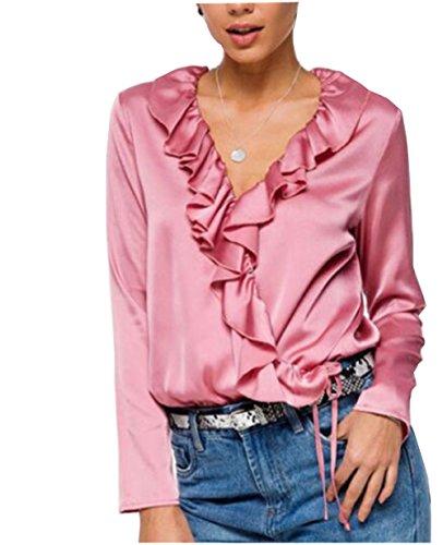 Damen elegant Langarmshirt weiche Seide fashion Fauen Hemd Bluse (M) (Charmeuse Tunika V-ausschnitt)