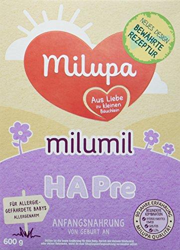 Milupa milumil HA Pre, Anfangsnahrung für allergiegefährdete Babys, von Geburt an, 3er Pack (3 x 600 g)