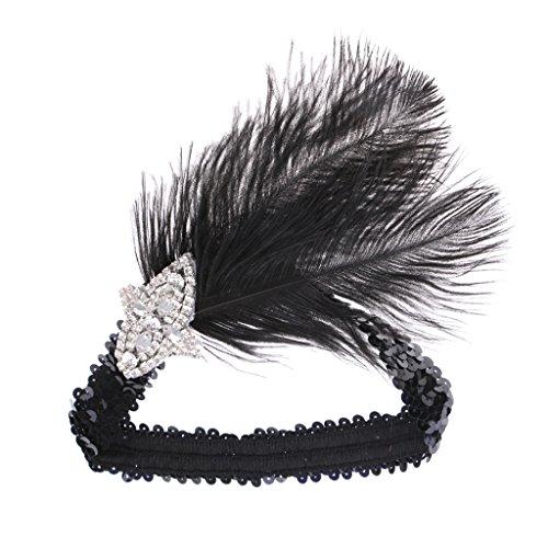 Baoblaze Damen 1920s Stirnband mit Feder 20er Jahre Stil Haarband Inspiriert von Great Gatsby Damen Kostüm Accessoires