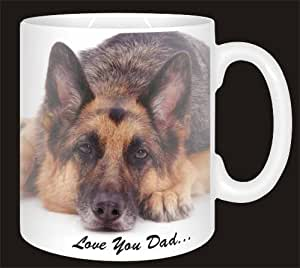 "German Shepherd Dog ""Love You Dad"" Ceramic Mug Fathers Day Sentiment Gift"