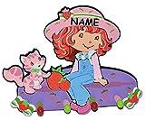 Unbekannt 3-D Kindergarderobe -  Mädchen - Emily Erdbeer  incl. Namen - mit 4 Kleiderhaken Moosgummi - Garderobenhaken Erdbeere Katze - Wandhaken Kinder Garderobe Kin..