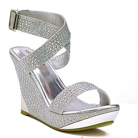 Chic Feet Silver Glitter Womens Party Diamante Evening Wedding Bridal