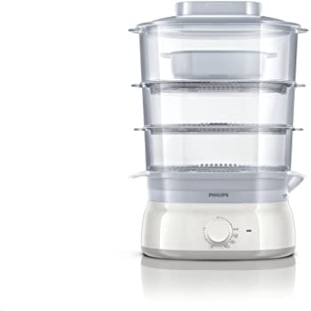 Philips HD9125/00 Vaporiera con Infusore di aromi, 3 cestelli, Capacità 9 L - Daily Collection -