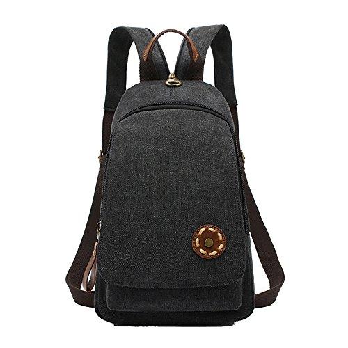 Anne , Damen Rucksackhandtasche schwarz khaki Schwarz