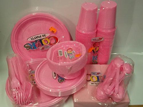 Set da tavola party piatti bicchieri posate tovaglioli color rosa