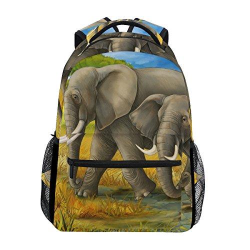 COOSUN Los Elefantes Mama y del niño Casual Mochila Mochila Escolar Bolsa...