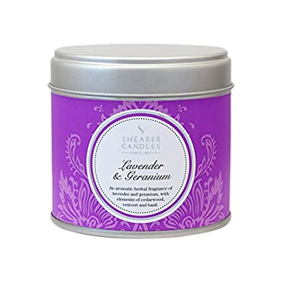 "Shearer Candles Large ""Lavender and Geranium"" Scented Tin Candle, White from Shearer Candles"