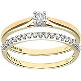 Ensemble Bague de fiançailles et alliance Femme - PR08559Y-J -  Or Jaune 375/1000 (9 Cts) 2.2 Gr - Diamant