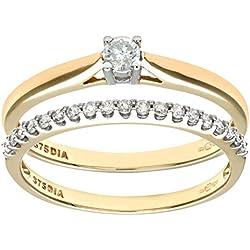 Naava - Set de anillos compromiso y boda de oro amarillo 9 k (375) con diamante 0.25 ct