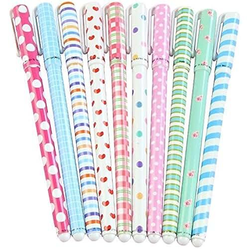 material para la escuela kawaii Hosaire Gel de Tinta Bolígrafo Multicolor de Papelería Linda Bolígrafos de Pelota de Dibujos Animados 10 Colores 10 Bolígrafos