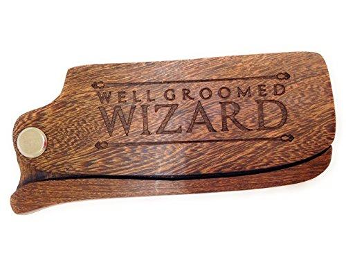 Well Groomed Wizard Folding Sandalwood Beard Comb, Wooden