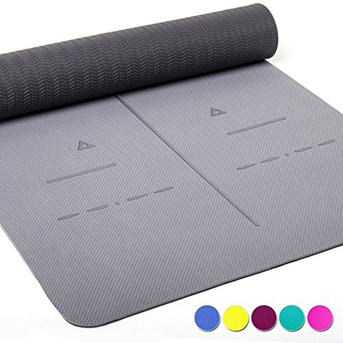 Heathyoga Tappetino da Yoga, la Linea Sistema di allineamento, Antiscivolo e Resistente, ottimale ammortizzamento, Splendido Design a Doppio Strato! Dimensioni: 183 x 66 cm, Altezza: 0,6 cm.