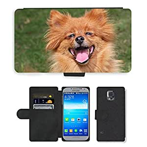 GoGoMobile PU LEDER LEATHER FLIP CASE COVER HÜLLE ETUI TASCHE SCHALE // M00117773 Spitz Dog Glücklich Lachen Ginger // Samsung Galaxy S5 S V SV i9600 (Not Fits S5 ACTIVE)