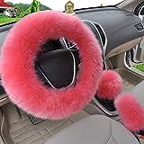 Sedeta® Copertura del volante molle universale della peluche Coperchi del freno Accessorio per autocarri per la protezione 3PCS / set per l'inverno Rosso rosa