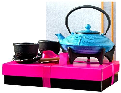 Coffret cadeau F - Service à thé en fonte avec libellule bleu clair SY2 - Théière Tetsubin, dessous de plat et tasses à feuilles X2