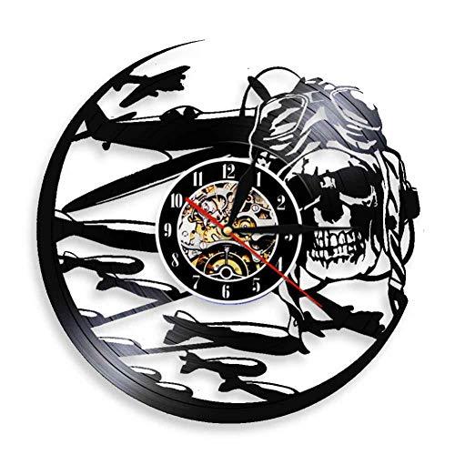 SSCLOCK Rétro Pilote crâne Horloge Murale aviateur Squelette Disque Vinyle Horloge Murale Avion Jet Volant Casque Hipster Lunettes crâne Mur déco
