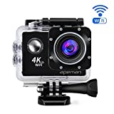 APEMAN 4K Action Cam WIFI Sport Camera Impermeabile 20 MP 170° Grandangolare 2.0 Pollici due 1050mAh Batterie e Kit Accessori con Pacchetto Portatile (Nero) immagine