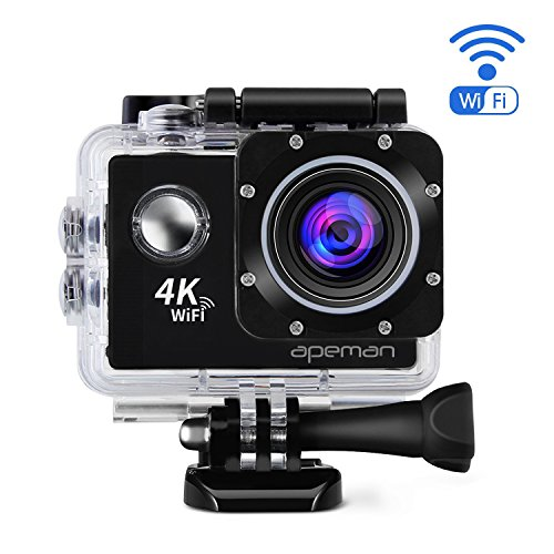 APEMAN 4K Action Cam WIFI Sport Camera Impermeabile 20 MP 170° Grandangolare 2.0 Pollici due 1050mAh Batterie e Kit Accessori con Pacchetto Portatile (Nero)