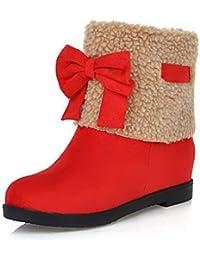 AgooLar Damen Kurz Velours Ziehen auf Rund Zehe Niedriger Absatz Gemischte Farbe Stiefel, Rot, 39